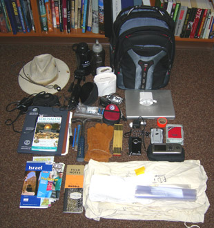 Field gear for Summer 2009 trip to Israel