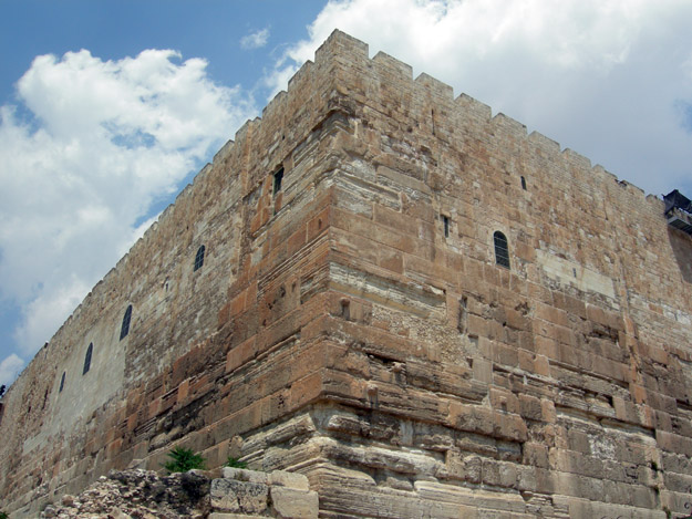 Southwest corner of the retaining wall for the Temple Mount.  The massive lower blocks were carved and emplaced during the reign of King Herod the Great (37 - 4 BCE).