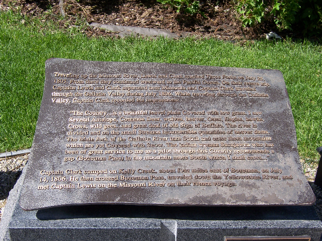 Plaque detailing the journey of Lewis and Clark