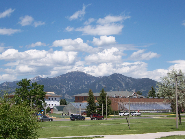 View of Baldy Mountain from the steps of my dorm.