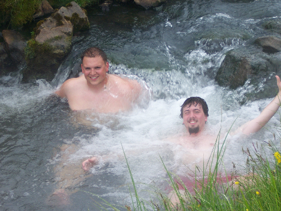 Todd and Rob soaking in an Icelandic stream.