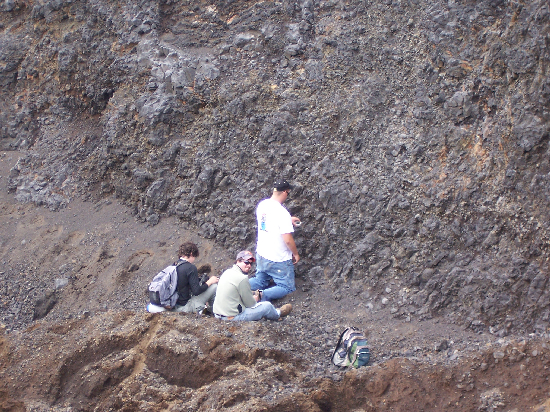 Adam, Rob, and Todd working in the pillow quarry.