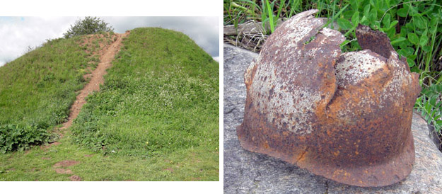 Oleg's Mound (reputedly), and a German World War II helmet found in the woods nearby.