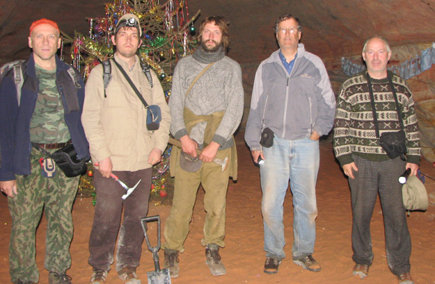 Nikolai, Sergei, Andrei, me, and my host Andrey in the Sablino Mines. I really don't know why there was a decorated Christmas tree in this cavern!