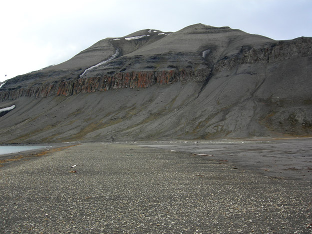 Outcrops of Triassic rocks near Diasbodden, Svalbard.