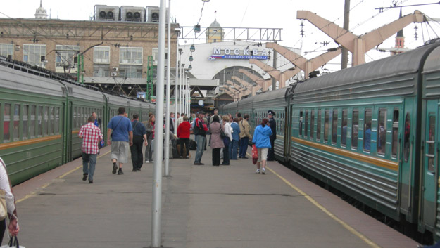 Train loading at Moscow Station.