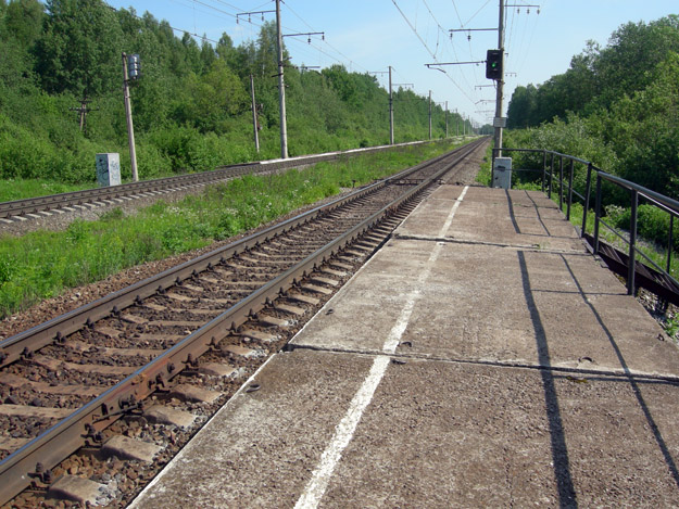 Train stop near the field house, Leningrad Region.