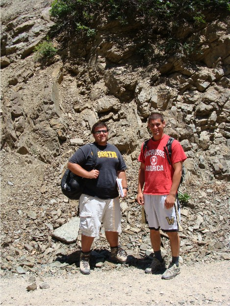 Bill and Phil are posing in front of one of the small folds in phyllites associated with compression events in the Pavant Range.