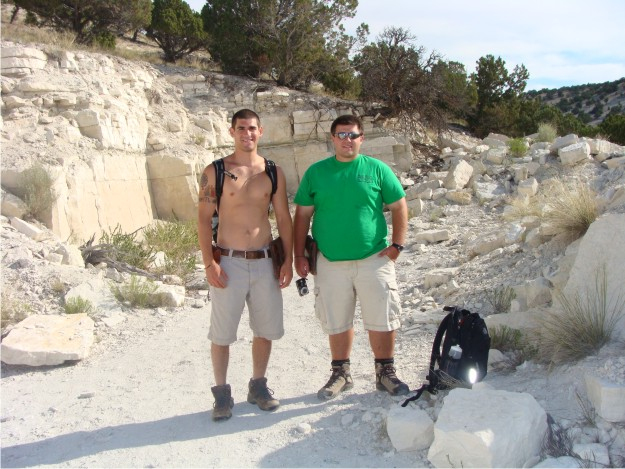 Below, Phil (left) and Bill (right) are eager to begin work in one of the quarries located on White Hill.  Although only 8:00 am, the morning temperatures are in the mid-70s, but they will rise to the mid-90s by the afternoon.