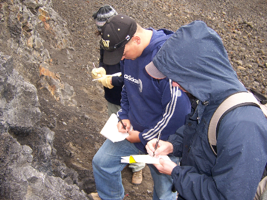 The Iceland crew taking meticulous notes.
