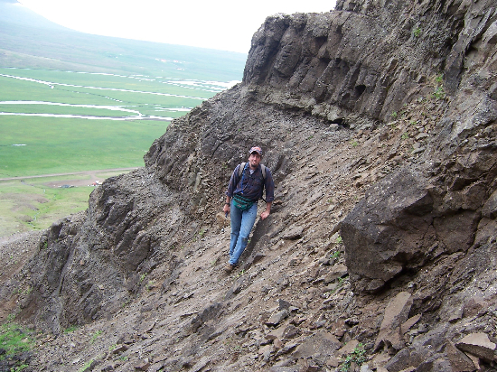 Rob poses while searching for zeolites in sunny Iceland (not really sunny).