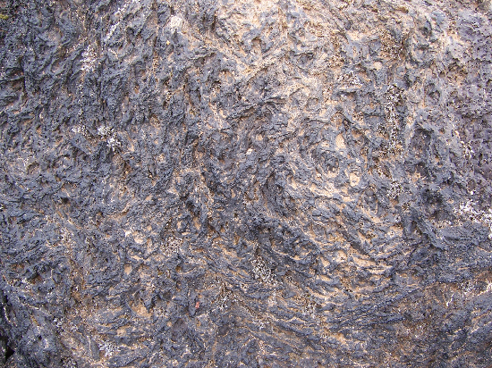 Glassy texture on a pahoehoe lava flow.
