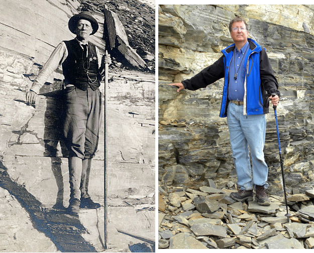 It is a tradition among paleontologists to pose with Charles Walcott at his famous quarry! I lack the knickers, though.