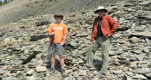 Our Canadian guide (and paleontologist) Paul McNeil and our trip leader Matthew James in the Mt. Stephen Trilobite Beds Quarry.