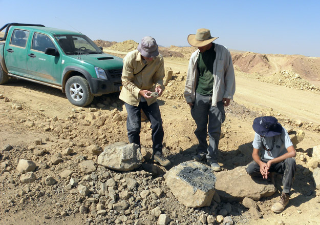 Examining pieces of Jurassic tree trunks with the Makhtesh Ramon ranger (center).