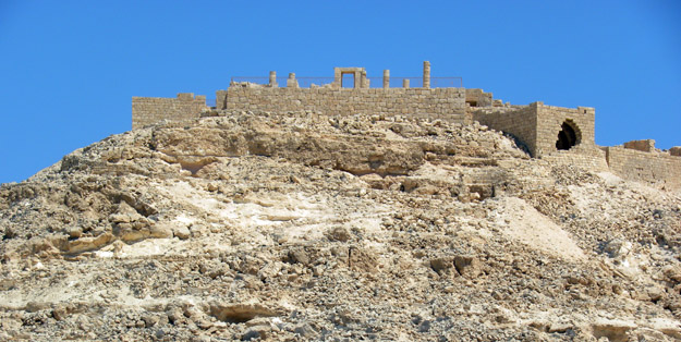 The ruins of Avdat as seen from Route 40 north of Mitzpe Ramon, Israel.