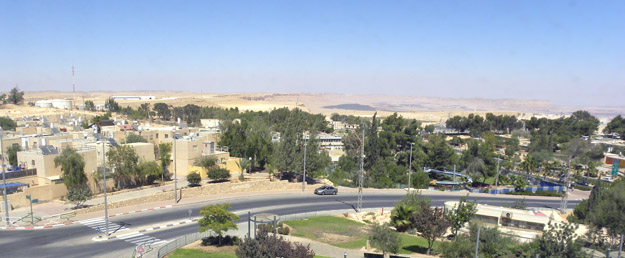 Mitzpe Ramon, Israel, as viewed from N30.61134°, E34.80097°.