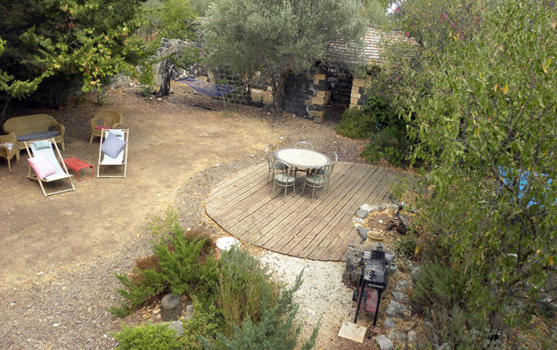 The delightful backyard of an environmental educator in Rosh Pina, Israel.