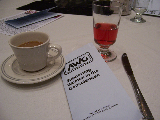 Coffee and juice at the AWG breakfast. I would have taken a picture of the food, too, but I ate it all and my plate was cleared before I remembered to pull out my camera. Trust me, it was delicious!
