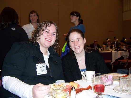 Heather Hunt '09 (left) and Elyssa Krivicich '09 (right) at the AWG Breakfast.