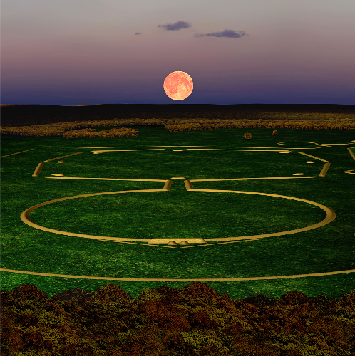 Digital image showing the Newark Moonrise. The northernmost moonrise occurs every 18.6 years and lies directly along a line extending from the observatory mound, across the Circle, through the link, and across the Octagon. Lines drawn in other directions across the earthworks align with other moon phases. Digital image by CERHAS University of Cincinnati, courtesy of Cleveland Museum of Natural History.