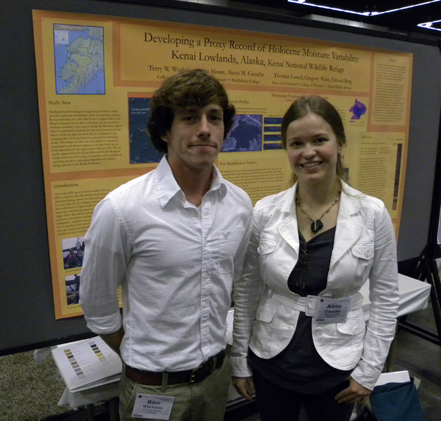 Terry Workman and Alena Giesche presented results of their work in Alaska. Their poster entitled DEVELOPING A PROXY RECORD FOR MOISTURE VARIABILITY THROUGH THE HOLOCENE FOR THE KENAI LOWLANDS, ALASKA, KENAI NATIONAL WILDLIFE REFUGE
