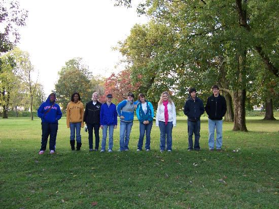Our group is lined up on one of the small semi-circle mounds inside of the Great Circle, behind the Eagle Mound.