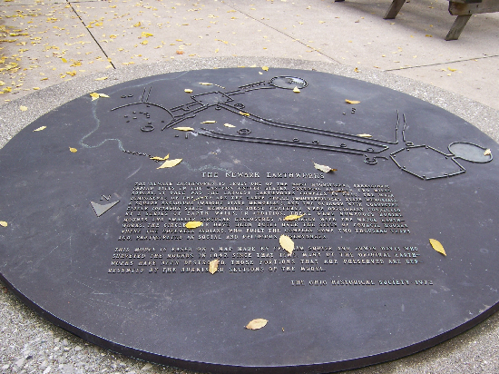 The plaque outside of the museum shows an overview of the Newark Earthworks.