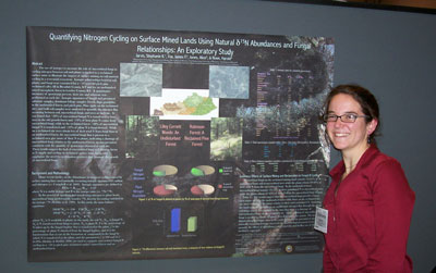 "Stephanie Jarvis presented her summer research in an interdiscipilnary session entitled What Does Biology Have to Do With It? Biota in Weathering, Nutrient Cycling, Mineral Surface Interactions, and Mineral Precipitation. Her poster title and research subject is ""Quantifying Nitrogen Cycling on Surface Mined Lands Using D15N Abundances and Fungal Relationships:An Exploratory Study""."