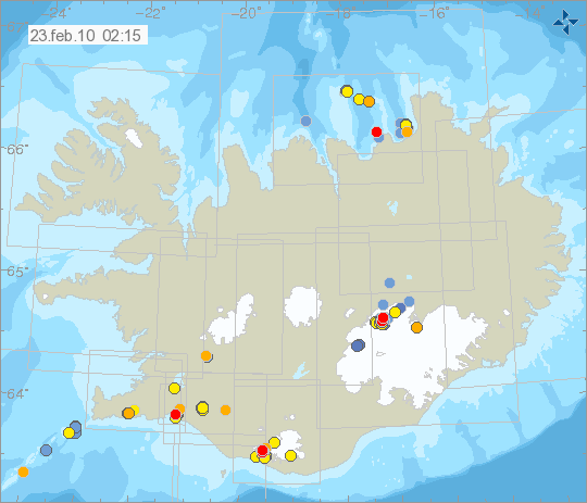 Earthquakes in Iceland over the past 48 hours. Red indicates 0-4 hours old; orange is 4-12 hours; yellow is 12-24 hours; light blue is 24-36 hours; dark blue is 36-48 hours.
