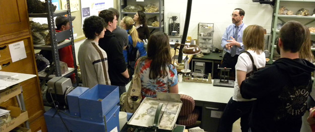 Dr. Saja showing us the CMNH mineralogy collections and research facilities.