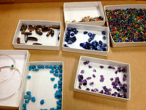 These colorful beads are made of minerals.