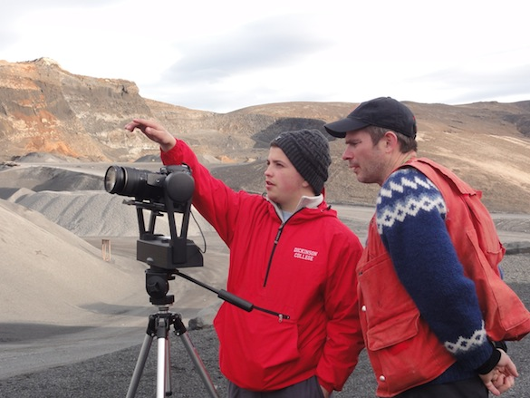 Aleks ('14, Dickinson) and Ben (Dickinson) set up the GigaPan to take a panoramic image of the quarry.