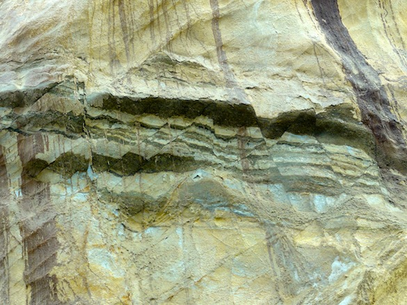 The San Mateo sandstone is riddled with textbook examples of deformation bands and faulting.