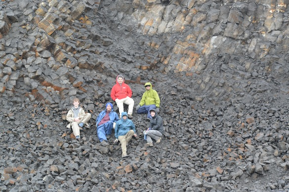 Team Iceland poses with a a fantastic columnar jointed basalt they found on their reconnaissance investigation.