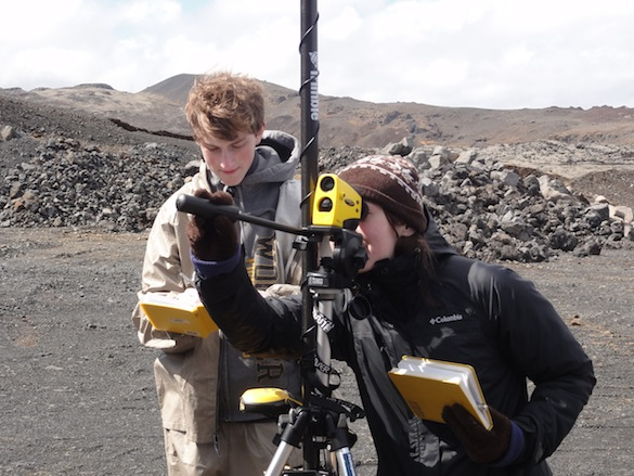 Our plan is to couple the high-resolution GigaPan images with elevation information from the laser range finger. Here, Michael ('16, Wooster) and Ellie ('14, Dickinson) are recording the elevations of contacts along the quarry walls.