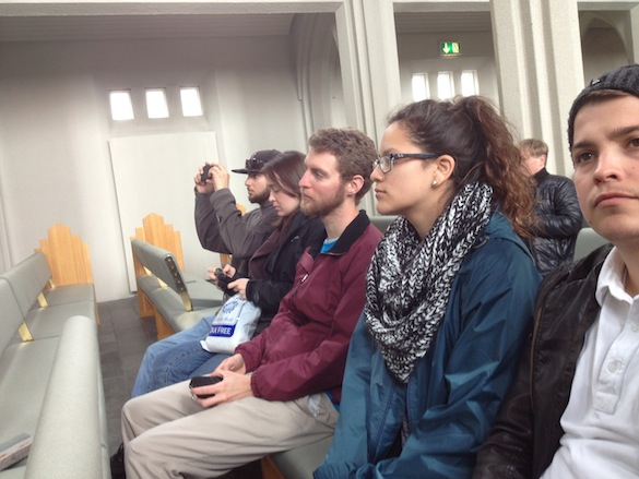Team Iceland pauses to listen to the organ in Hallgrimskirkja. Photo Credit: Michael Williams