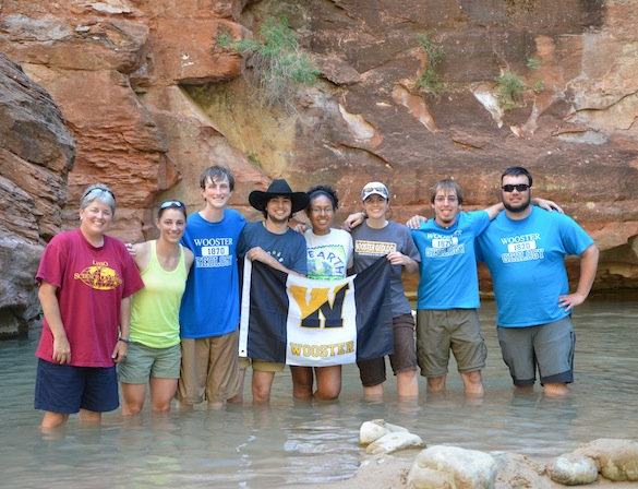 The Wooster crew cools off in the Virgin River at the end of an awesome day in Zion. Credit: T. Wilch