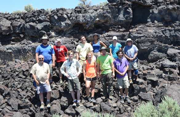 Team Utah 2013 at the end of their last day in the field. From left to right: (front) Dr. Thom Wilch (Albion), Michael Williams ('16, COW), Ellen Redner ('14, Albion), Cam Matesich ('14, COW), Adam Silverstein ('16, COW); (back) Kyle Burden ('14, COW), Dr. Meagen Pollock (COW), Ben Hinks ('14, Albion), Candy Thornton ('14, COW), Tricia Hall ('14, COW), and Dr. Shelley Judge (COW).