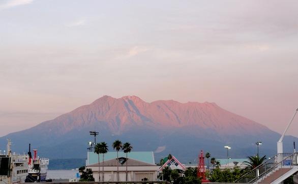 Sakurajima at sunset, from Kagoshima.