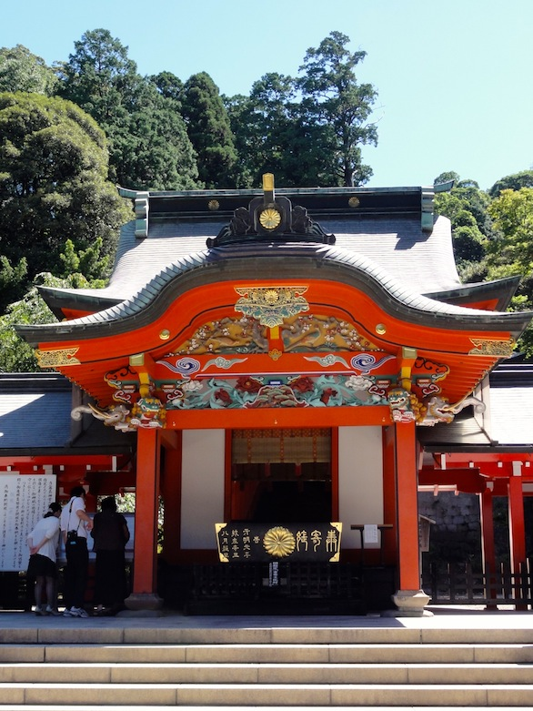 The Kirishima shrine, dedicated to Ninigi-no-Mikoto, is located at the base of the Kirishima volcanic complex.