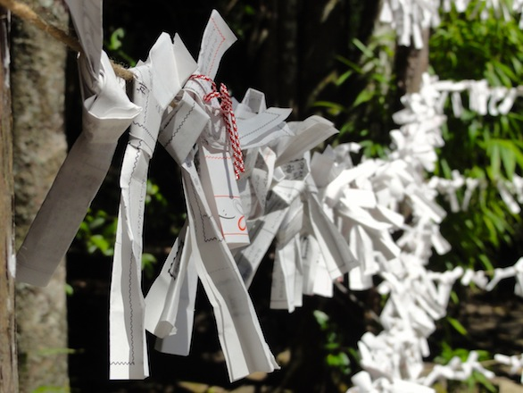 Visitors could also pay to draw a paper fortune, or omikuji, from a box. The papers were tied to a wire fence near the shrine entrance. I was told that leaving the fortune at the shrine would turn bad fortunes into good fortunes.