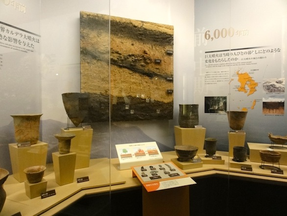 The museum displays a vast collection of earthenware and stone tools. Exhibits show the artifacts in their geological context.