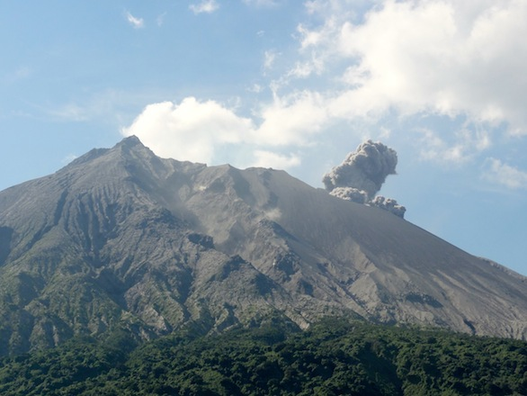 The start of the eruption as viewed from Arimura lookout.