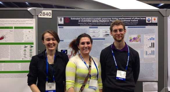 Ellie (left), Mary (center, and Alex (right) presented their posters in a physical volcanology session at AGU 2013.