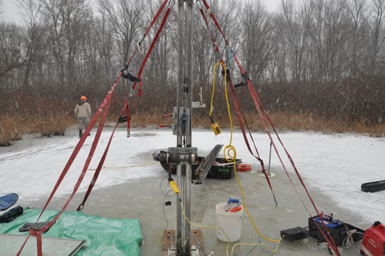 A look at the drilling rig - anchored in the ice, tied down with ice screws.