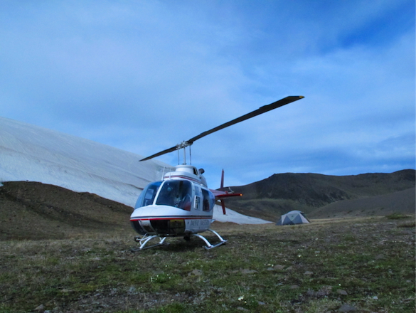 Photo credit to Mary R; The provincial park where we camped (located near Pillow Ridge) allows no vehicle access, which makes traveling by air critical. Note basecamp in the background.