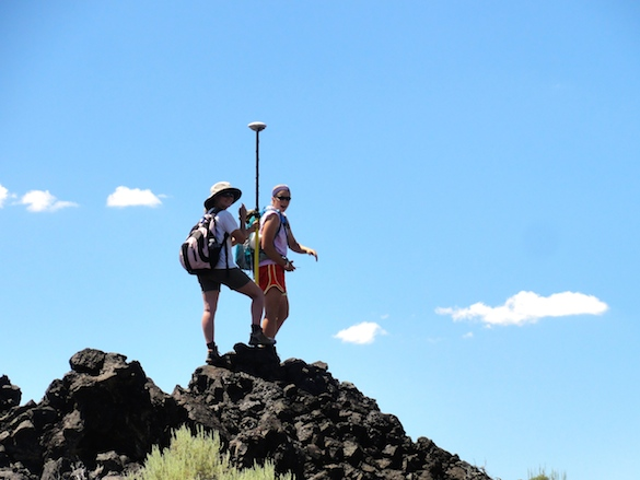 Chloe Wallace and Julia Franceschi use the Trimble GPS to make cm-scale measurements of the topography.