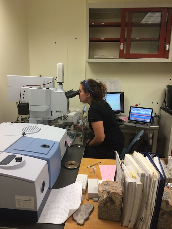 Not a lot of windows in the FTIR lab, so Mary had to look at glass chips.