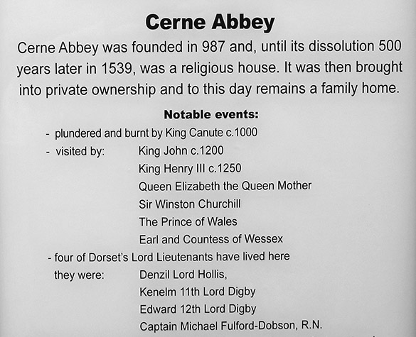 11 Cerne Abbey sign
